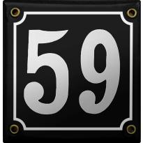 Emaille zwart huisnummerbord met witte cijfers, 100x100 mm