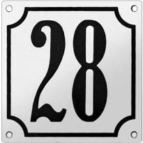 Gebolleerd huisnummer emaille wit/zwart met kader, klassieke cijfers, 100x100 mm