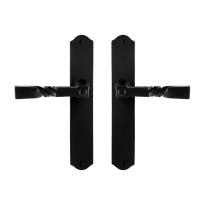 GPF6245.60 smeedijzer zwarte deurkruk Nokka op schild, 238x41x4mm