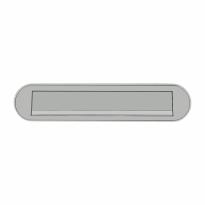 Hoppe 454 aluminium F9 - RVS look briefplaat afgerond, 73x350 mm
