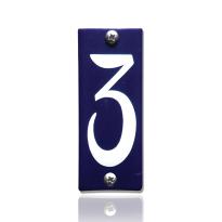 Huisnummer 3 emaille blauw, 40 x 100 mm