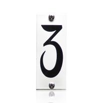 Huisnummer 3 emaille wit, 40 x 100 mm