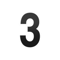 Huisnummer 3 XL zwart, 250 mm
