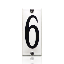 Huisnummer 6 emaille wit, 40 x 100 mm