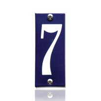 Huisnummer 7 emaille blauw, 40 x 100 mm