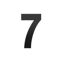 Huisnummer 7 XL zwart, 250 mm