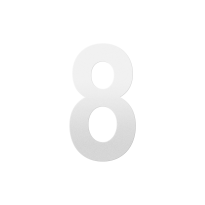 Huisnummer 8 XL wit, 250 mm