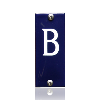 Huisnummer B emaille blauw, 40 x 100 mm