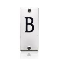 Huisnummer B emaille wit, 40 x 100 mm