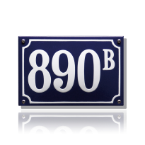 Huisnummer emaille blauw, 150 x 100 mm