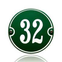 Huisnummer emaille groen, 130 mm