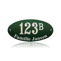 Huisnummer emaille met naam groen, 200 x 100 mm