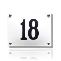 Huisnummer emaille wit, 190 x 160 mm