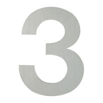 Huisnummer modern RVS 3 plat, 154 mm