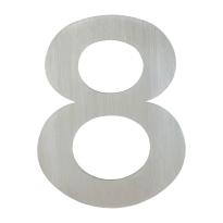 Huisnummer modern RVS 8 plat, 155 mm