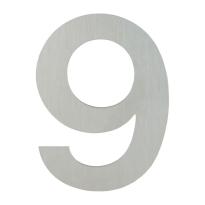 Huisnummer modern RVS 9 plat, 155 mm