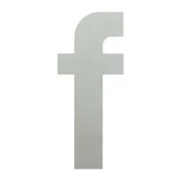 Huisnummer modern RVS letter 'F' plat, 150 mm