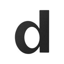 Huisnummer toevoeging letter 'D' zwart, 110 mm