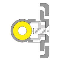 Ivana 3810A-N/HSP inbouw sluitlijst voor dubbele deuren, 2850 mm