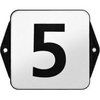 Klassiek huisnummer emaille wit/zwart zonder kader, blok cijfers, 120x120 mm