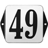 Klassiek huisnummer emaille wit/zwart zonder kader, klassieke cijfers, 120x120 mm