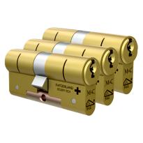 M&C Matrix antikerntrek dubbele veiligheidscilinder gelijksluitend per 3, messing