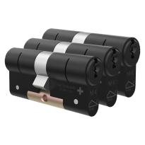 M&C Matrix antikerntrek dubbele veiligheidscilinder gelijksluitend per 3, zwart