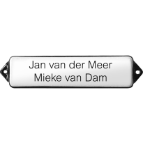 Naamplaat emaille wit, zonder kader, letters Arial, 100x30mm