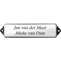 Naamplaat emaille wit, zonder kader, letters Footlight, 100x30mm
