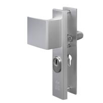 Nemef 3419 aluminium greep/kruk veiligheidsgarnituur voor buitendeuren met RVS kerntrekbeveiliging