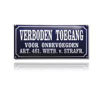 NH-84 emaille verbodsbord 'Verboden toegang'