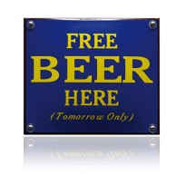 NH-97 emaille naambord 'Free beer here'