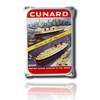 NKO-06-CF emaille reclamebord 'Cunard fastest'