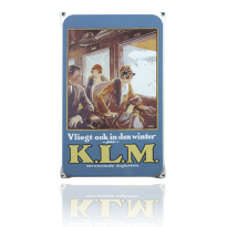 NO-08-KL emaille reclamebord 'KLM winter'