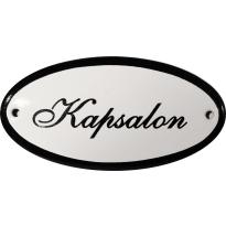 Ovaal deurbordje 'Kapsalon', emaille