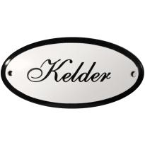 Ovaal deurbordje 'Kelder', emaille