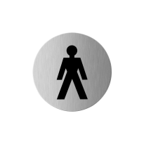 Pictogram 'Herentoilet' RVS rond