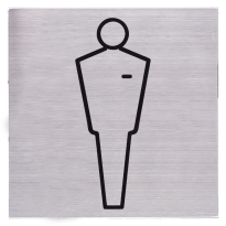 Pictogram 'Herentoilet' RVS vierkant