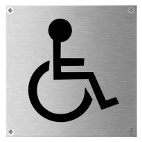 Pictogram 'Mindervalide' toilet RVS vierkant