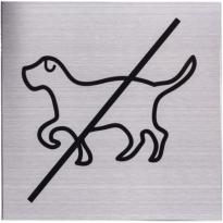 Pictogram RVS 'Verboden voor honden' vierkant