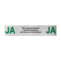 RVS brievenbusbordje 'Ja/Ja' rechthoekig