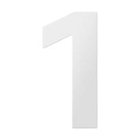 RVS huisnummer 1, wit