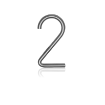 RVS huisnummer 2, 10 x 130 mm grijs