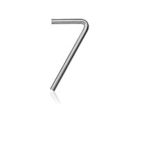 RVS huisnummer 7, 10 x 130 mm grijs