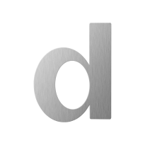 RVS huisnummer letter 'D' plat, 110 mm