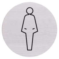 RVS pictogram 'Damestoilet' rond