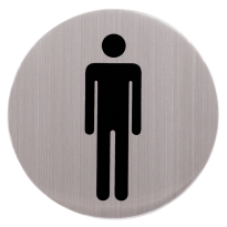 RVS pictogram rond 'Herentoilet' 82mm
