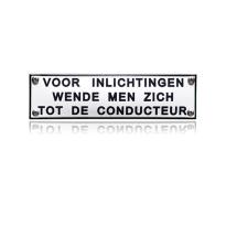 TR-10 emaille trein en tram bord 'Voor inlichtingen wende men zich'
