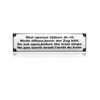 TR-16 emaille trein en tram bord 'Niet openen tijdens de rit '