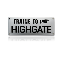 TR-33 emaille trein en tram bord 'Trains to highgate'